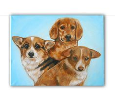 14x18 3 Pet Portrait Custom Pet Portrait / Custom Dog