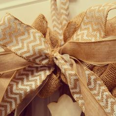 Chevron and burlap gift bow