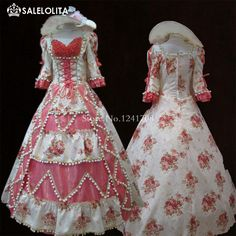 High end Pink Floral Beading Marie Antoinette Dresses Vintage Baroque Rococo…