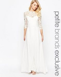 John Zack Petite | John Zack Petite Heavy Lace 3/4 Sleeve Bodice Maxi Dress $46 but sold out
