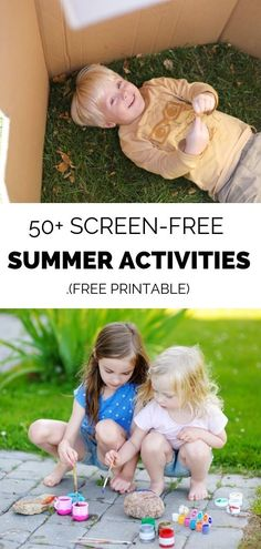 Kids don't need screens to fend off boredom! These screen-free summer activities for kids will get them outside and foster their imagination and creativity. Free printable. #summeractivitiesforkids #screenfreeactivities