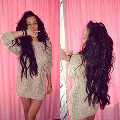 Messy long dark hair