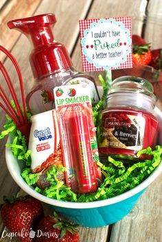 Strawberry Teacher Gift - Give your child's teacher the gift of strawberries! A bowl of strawberry-scented products is a fun way to thank your child's teacher at the end of the school year.