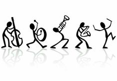 Instruments and stick figure