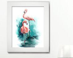 Flamingo 2 acuarela impresión aves acuarela por SlaviART en Etsy
