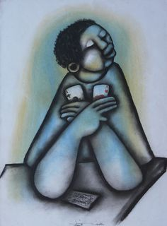 Mbele, David - The Winning Cards Contemporary African Art, Kinky Hair, Affair, Art Pieces, Pastel, David, Abstract, Cards, Summary