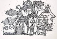 Zentangle village doodle houses home building Abstract Doodle Zentangle Paisley… Zentangle Drawings, Doodles Zentangles, Zentangle Patterns, Doodle Drawings, Colouring Pages, Adult Coloring Pages, Coloring Books, Doodle Art, Pixel Art