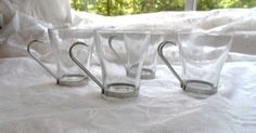 Glass Coffee Mugs with Handles | ... Glass Coffee Cups Mugs with Metal Handles via Orphaned Treasures Etsy