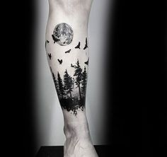 Manly Small Tree Leg Band Tattoo Designs For Guys