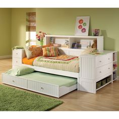 Cody Daybed with Trundle & Storage Hillsdale Furniture | Twin Daybed Drawer Trundle Bookcase Storage Youth Bedroom