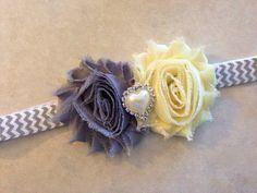 Shabby Flower Headband, Baby Headband, Yellow and Gray Shabby Rose Headband - Newborn Baby Toddler Girl Adult on Etsy, $6.00