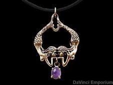 14k Yellow Gold Twin Mermaid Pendant Necklace w/ Gemstone