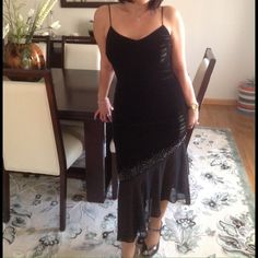 Very elegant Evening velvet black dress with sheer Gorgeous comfortable stretchy fitting soft black velvet evening dress. Jessica Howard Dresses
