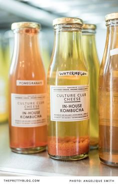 Bottles of kombucha   Photography: Angelique Smith Photography   Hangout: Culture Club Cheese  