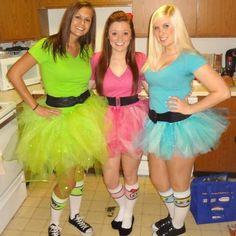 Powerpuff Girls costumes! no sew tutus :)  Halloween 2012