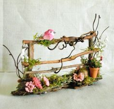 All Natural TWIG GARDEN FENCE WITH Pink and White FLOWERS, BIRD & Clay POT. this TWIG GARDEN FENCE is made for a delightful Fairy HOUSE or Fairy GARDEN! Miniature Doll House Dollhouse FAIRY GARDEN or FAIRY HOUSE. | eBay!