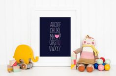 "Modern Blue & Pink ""I Love You"" Alphabet Print 