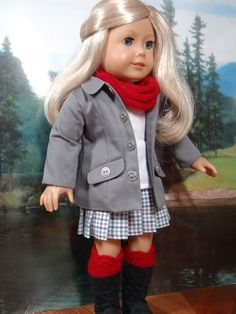 Contemporary outfit for American Girl or similar 18 inch doll, car coat, skirt, infinity scarf, boot cuffs and boots.