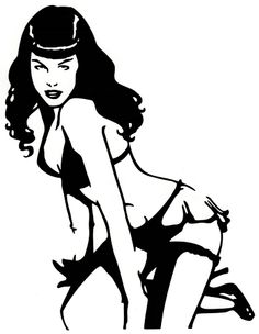 Sticker / Decal - PAGE, BETTIE (a.k.a. BETTY) Leg Up, Wearing Little Frilly Skirt/Panties Whilst Staring