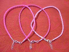 Braided leather pink anklet/ankle bracelet hippy/boho/pop/funky/summer/friends