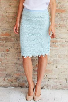 ...Polished! Tons of new arrivals at www.glamourandglow.com .... Fast delivery! Free shipping over $50 for US GARDENIA LACE PENCIL SKIRT - BLUE   Glamour and Glow