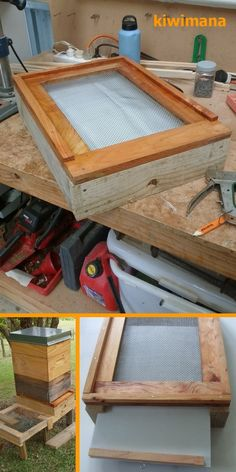 Screened Bottom Board - The kiwimana meshboard is designed and built to help in the fight against the Varroa Mite.