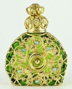 Perfume Bottle Vintage Vanity Gold Tone Filigree Vanity Green W Blue Crystals