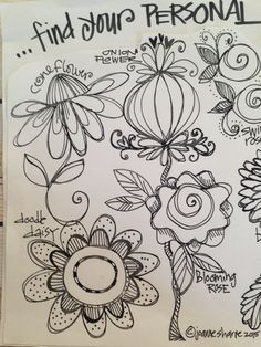 "PART ONE: Draw Inspired Blossoms (video and photos) - LESSON FIVE: ""You Blooms"" - Bloomin' Doodles"