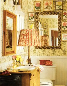 Cottage style by Lynn von Kersting. Beautiful taps and love how it blends with that mellow pine wood of the washstand.