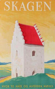 Den tilsandede kirke er en af Skagens seværdigheder. Den største attraktion er dog Grenen, hvor to have mødes. Plakaten er lavet af Hakon Spliid i 1948.
