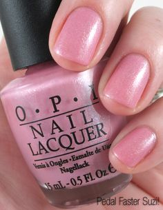 OPI - Pedal Faster Suzi! | this is a pretty shimmery true pink. I wear this color in the spring/summer.
