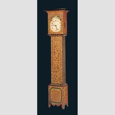 """TALL CASE CLOCK/ Artist unidentified; clockworks attributed to Lambert W. Lewis (c.1785–1834), Ohio, United States, 1812–1834, paint on pine case with watercolor on paper clockface and wooden clockworks, 87 × 21 1/2 × 12 3/4"""", museum purchase, Eva and Morris Feld Folk Art Acquisition Fund, 1981.12.22 Photo credit: John Parnell."""