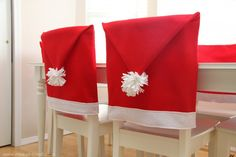 Santa Hat Chair Cover Tutorial chair covers, outlet, chair backs, seat covers, homemade decorations, louis vuitton bags, christmas projects, hat, diy christmas
