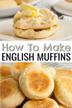 Feb 2020 - Homemade English Muffins are easy to make and freeze great. Make a batch of easy homemade English muffins today and save time and money. English Muffin Recipes, Homemade English Muffins, English Muffin Bread, English Muffin Breakfast, Biscuits, Simple Muffin Recipe, Good Food, Yummy Food, Bread And Pastries