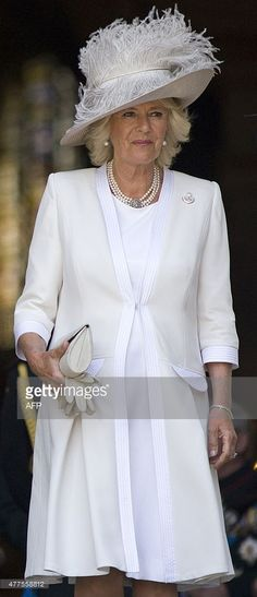Britain's Camilla, Duchess of Cornwall leaves St Paul's Cathedral in London on June 18, 2015, after attending a national service of commemoration to mark the 200th anniversary of the Battle of Waterloo. European royals and diplomats gathered in Belgium on Thursday to mark the 200th anniversary of the Battle of Waterloo, a turning point for the continent which still touches a nerve and stirs national passions. In Britain, the focus was on a special service at St Paul's Cathedral attended by…
