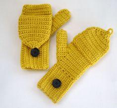 Honey Gold Mittens Fingerless Convertible Yellow MittensWomens Crochet