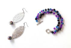 Multicolor beaded bracelet and silver oval earring set, purple, blue and black