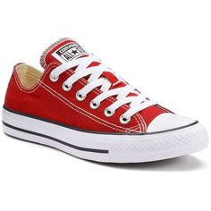 Adult Converse All Star Chuck Taylor Sneakers ($55) ❤ liked on Polyvore featuring shoes, sneakers, converse, red, red trainers, converse shoes, laced shoes, lace up sneakers and red sneakers