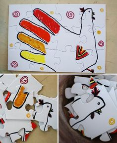 10 Thanksgiving Crafts & Activities: Hand Turkey Puzzle