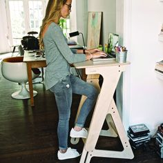 Amazon.com - Height Adjustable Wooden Standing Desk - JASWIG StandUp, Medium -
