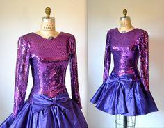 80s Prom Dress with Purple Sequin// 80s Metallic by Hookedonhoney, $115.00