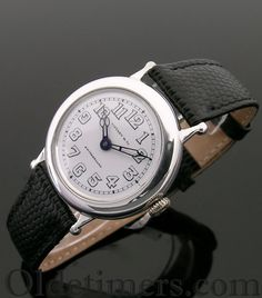 A round silver vintage Longines watch, made for Tiffany & Co., 1930s