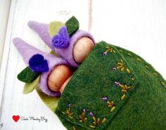 Wooden Peg Dolls Lavender Sister Pixies by SockMonkeyBizz on Etsy, $10.50