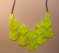 Neon Spring Green Floral Laser Cut & Etched Bib by florapamo Geek Jewelry, Jewelry Art, Jewelry Gifts, Jewelery, Jewelry Design, Laser Cut Jewelry, Custom Jewelry, Organic Glass, 3d Laser