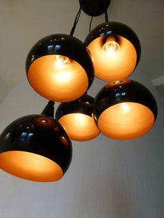 Design Kaskadenlampe Tropfen Leuchte 5 Kugellampen schwarz Panton Design TOP! in Möbel & Wohnen, Beleuchtung, Lampen | eBay
