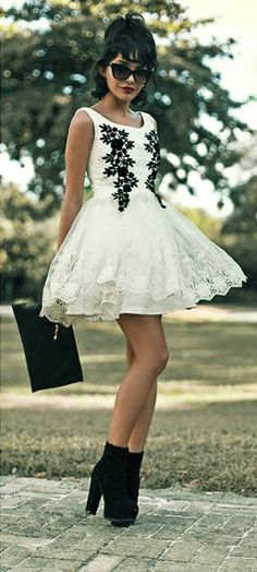 White Lace Dress with Black Floral Accents