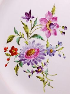 Flower Prints, Flower Art, Fabric Paint Designs, Dress Painting, Baroque Pattern, Birth Flowers, Bunch Of Flowers, China Painting, Flower Wallpaper