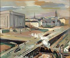Atte Laitila, maalaus 1936.  Eduskuntatalo ja Turuntietä.