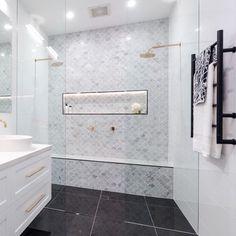 Shower seat and scallop tile Scallop Tiles, Shower Seat, Mount Pleasant, Bathroom Inspiration, E Design, Master Bathroom, Bathrooms, New Homes, Bathtub