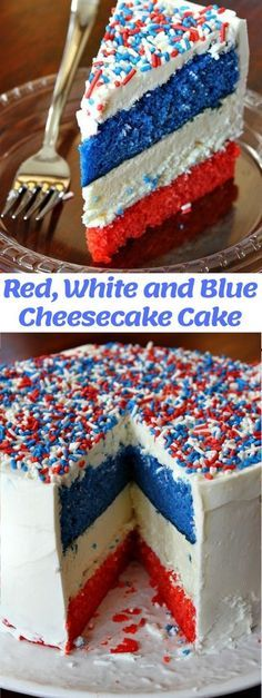 Red, White and Blue Cheesecake Cake - This is an incredibly festive cake for summer holiday parties! 4th Of July Cake, Fourth Of July Food, July 4th, No Bake Desserts, Just Desserts, Dessert Recipes, Cheesecake Cake, Cheesecake Recipes, Tall Cakes